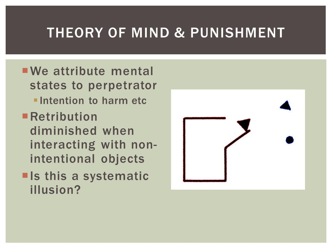  We attribute mental states to perpetrator  Intention to harm etc  Retribution diminished when interacting with non- intentional objects  Is this a systematic illusion.