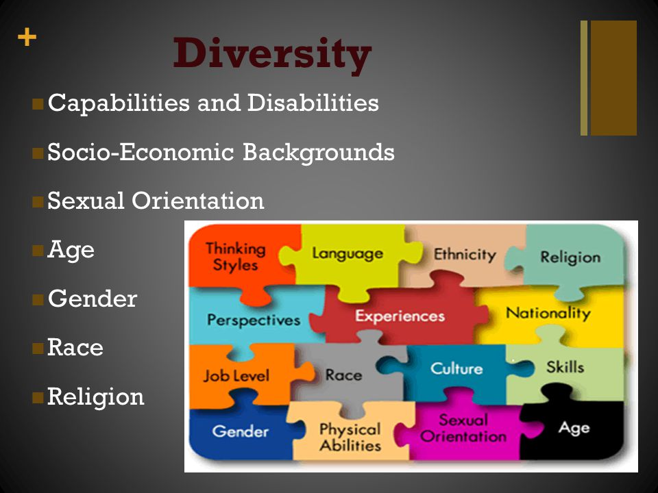 + Diversity Capabilities and Disabilities Socio-Economic Backgrounds Sexual Orientation Age Gender Race Religion
