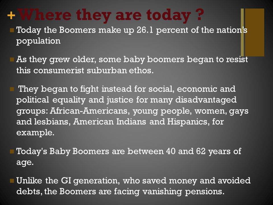 + Where they are today ? Today the Boomers make up 26.1 percent of the nation's population As they grew older, some baby boomers began to resist this
