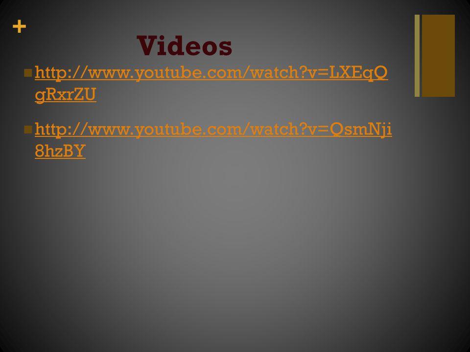 + Videos http://www.youtube.com/watch?v=LXEqQ gRxrZU http://www.youtube.com/watch?v=LXEqQ gRxrZU http://www.youtube.com/watch?v=QsmNji 8hzBY http://ww