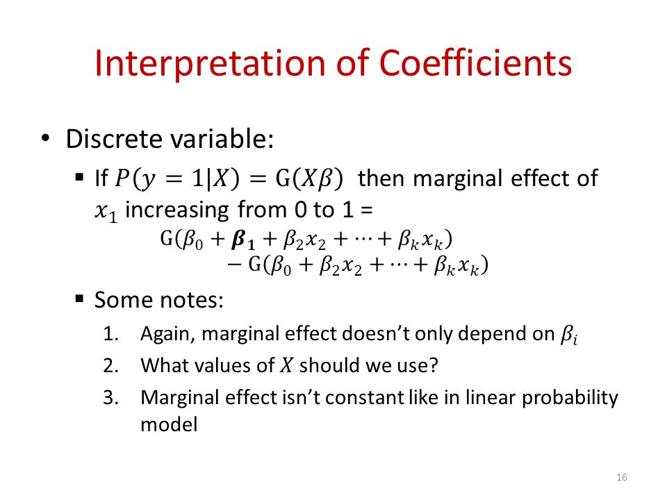 Interpretation of Coefficients 16
