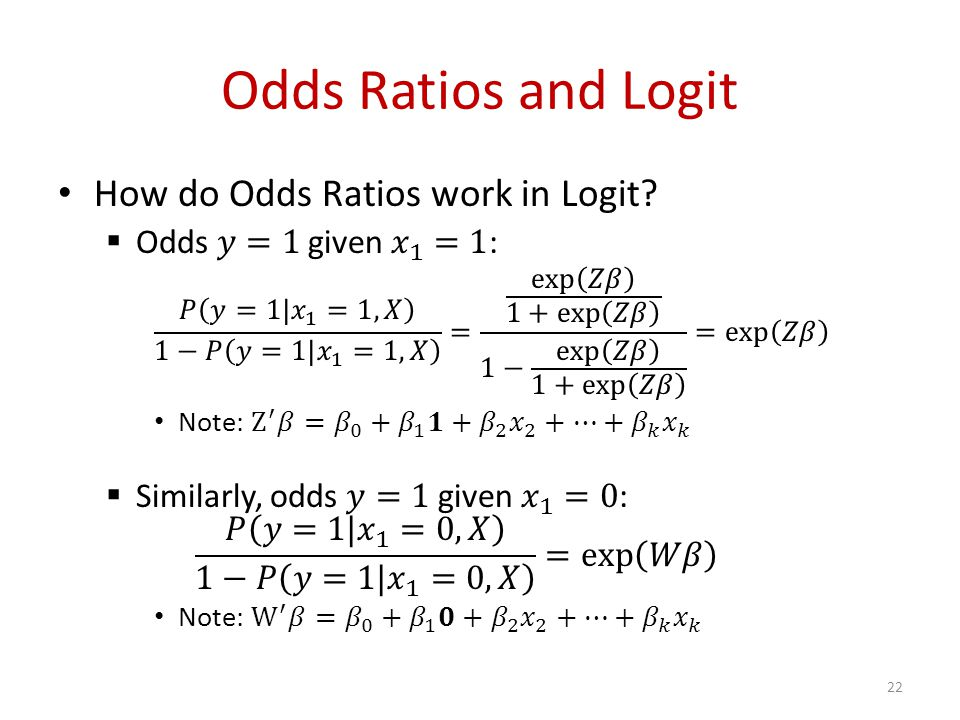 Odds Ratios and Logit 22
