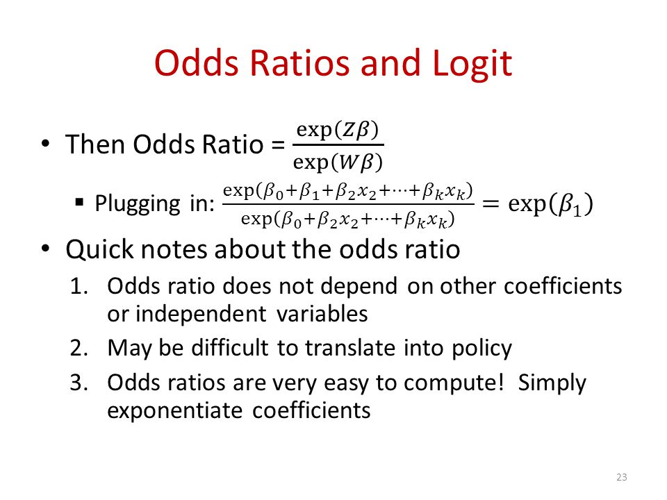 Odds Ratios and Logit 23