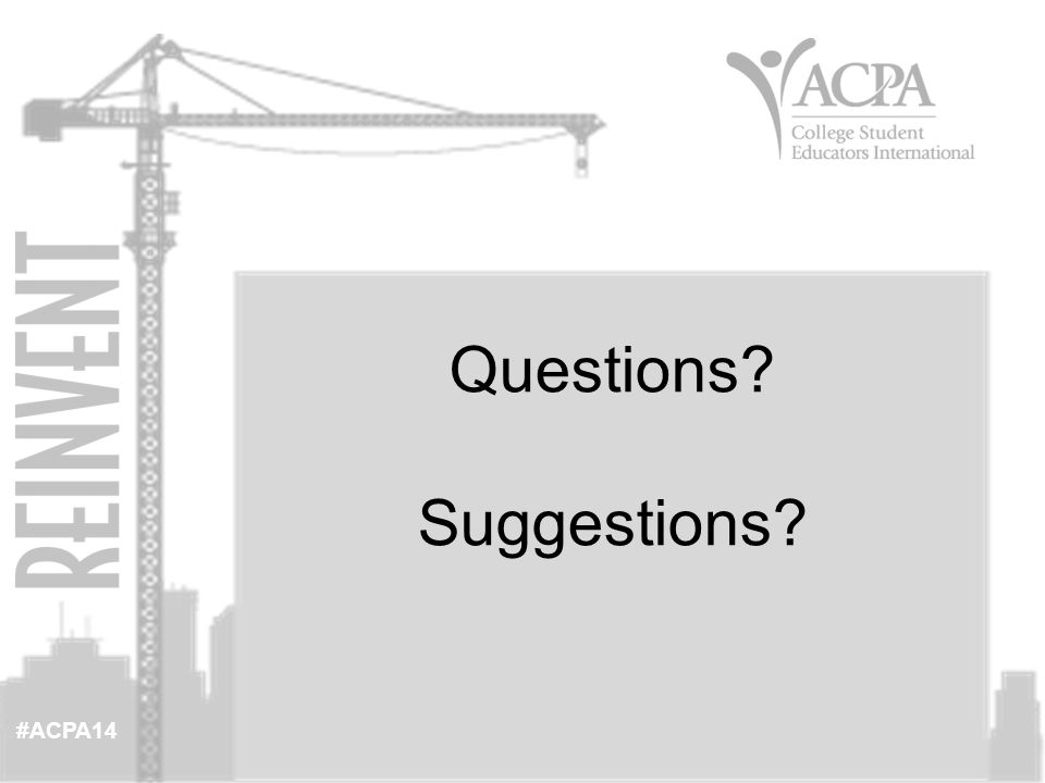 #ACPA14 Questions Suggestions