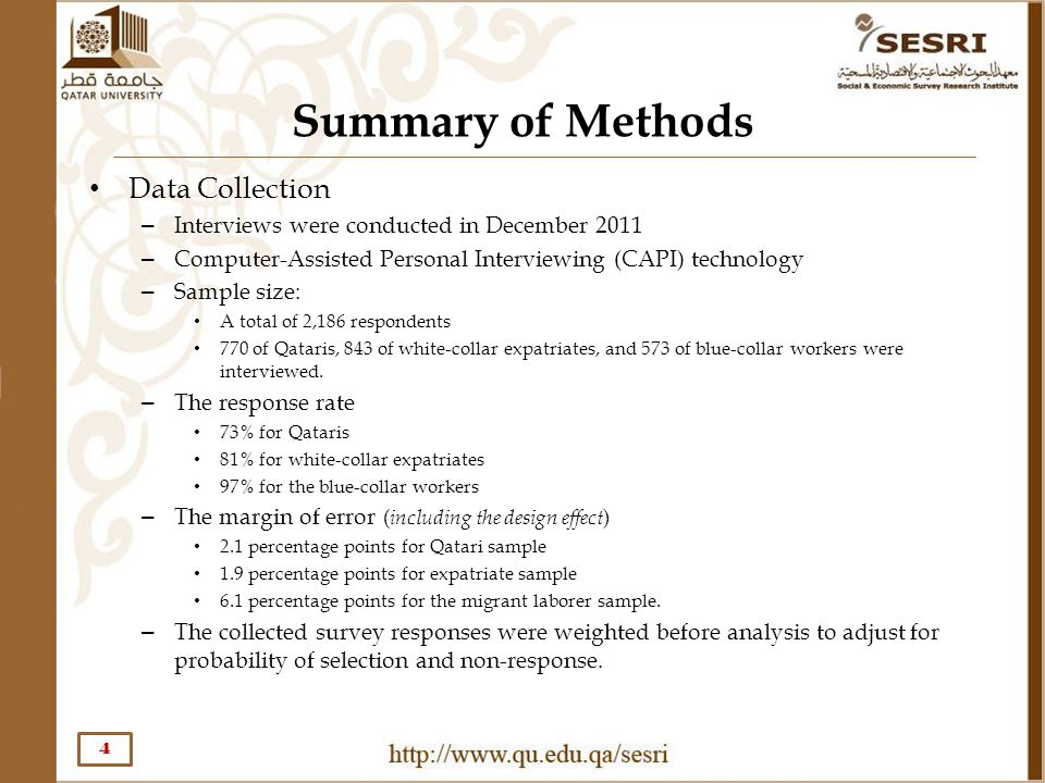 Summary of Methods Data Collection – Interviews were conducted in December 2011 – Computer-Assisted Personal Interviewing (CAPI) technology – Sample s