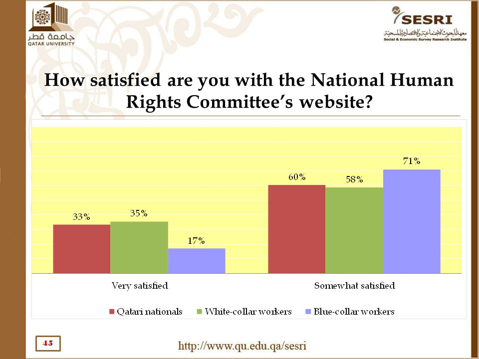 How satisfied are you with the National Human Rights Committee's website? 45