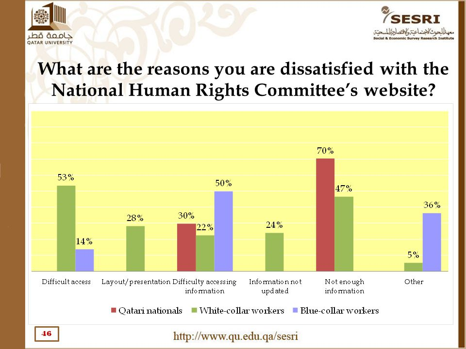 What are the reasons you are dissatisfied with the National Human Rights Committee's website? 46