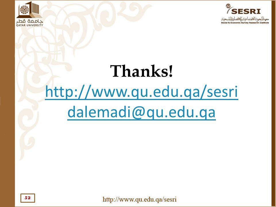 Thanks! http://www.qu.edu.qa/sesri dalemadi@qu.edu.qa 52
