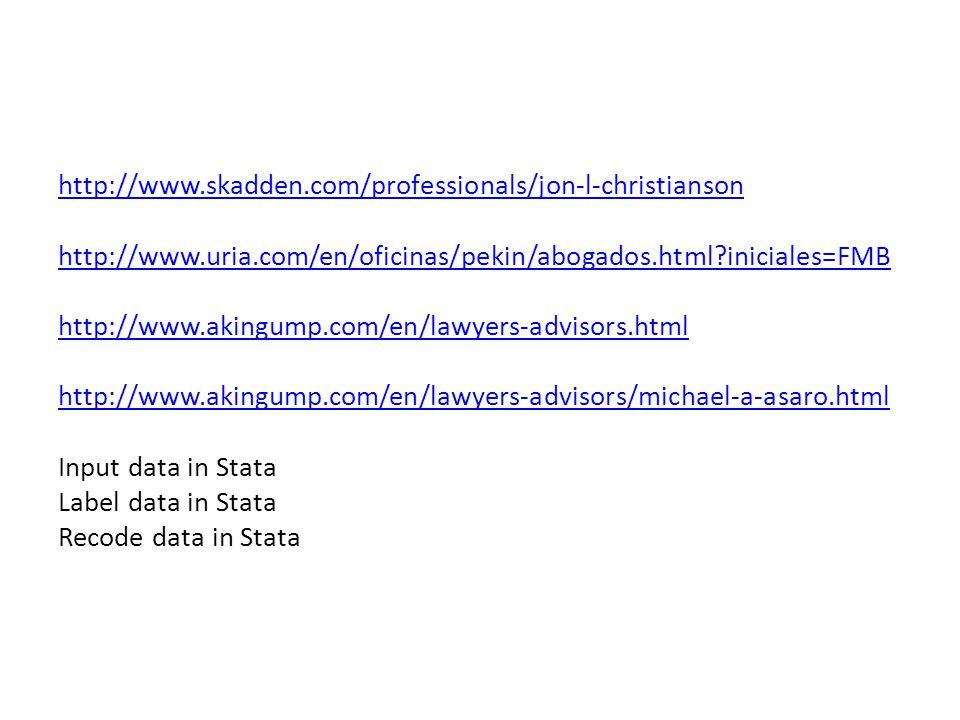 http://www.skadden.com/professionals/jon-l-christianson http://www.uria.com/en/oficinas/pekin/abogados.html?iniciales=FMB http://www.akingump.com/en/l