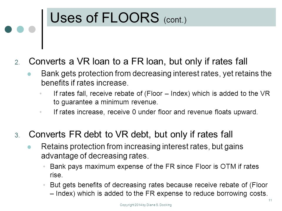 Copyright 2014 by Diane S. Docking Uses of FLOORS (cont.) 2.