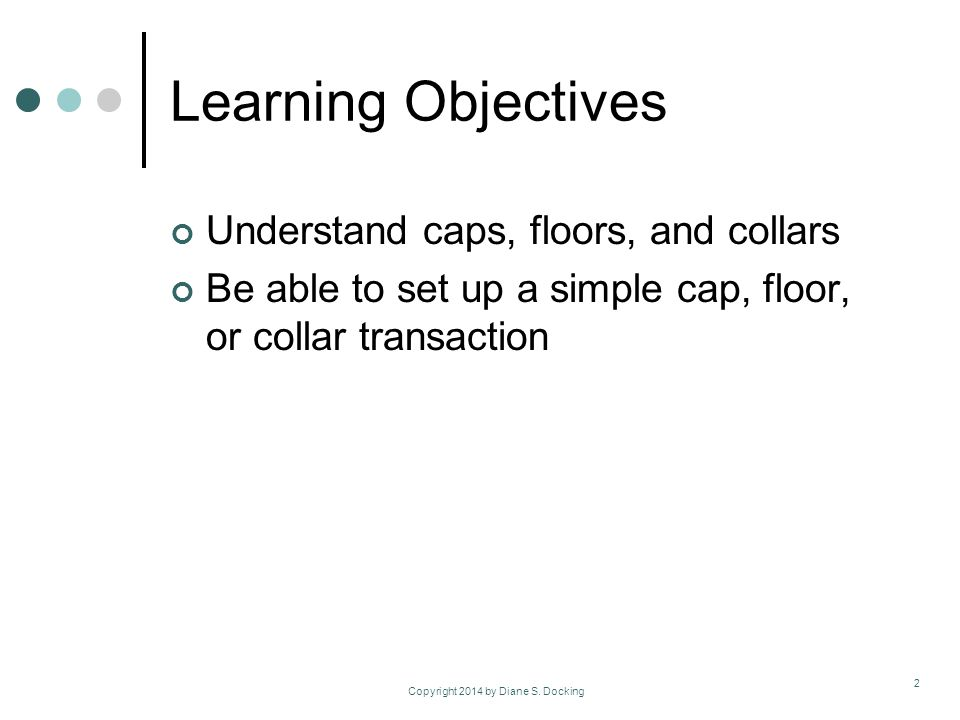 Learning Objectives Understand caps, floors, and collars Be able to set up a simple cap, floor, or collar transaction Copyright 2014 by Diane S.