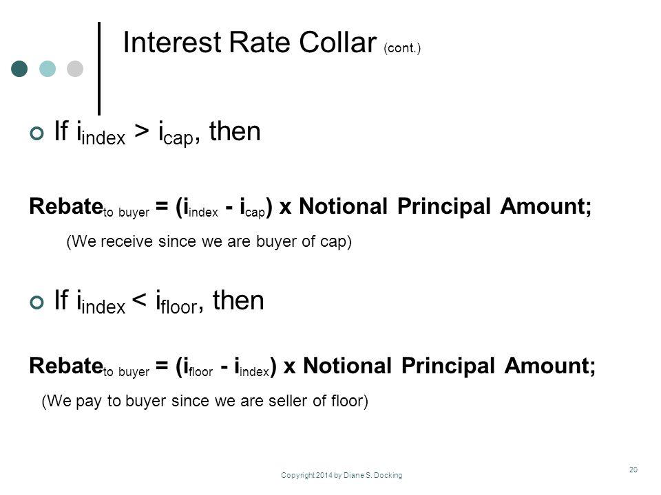 If i index > i cap, then Rebate to buyer = (i index - i cap ) x Notional Principal Amount; (We receive since we are buyer of cap) If i index < i floor, then Rebate to buyer = (i floor - i index ) x Notional Principal Amount; (We pay to buyer since we are seller of floor) Copyright 2014 by Diane S.