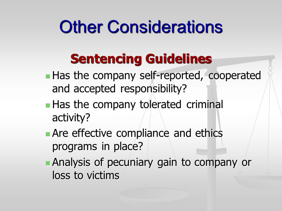 Other Considerations Sentencing Guidelines Has the company self-reported, cooperated and accepted responsibility.