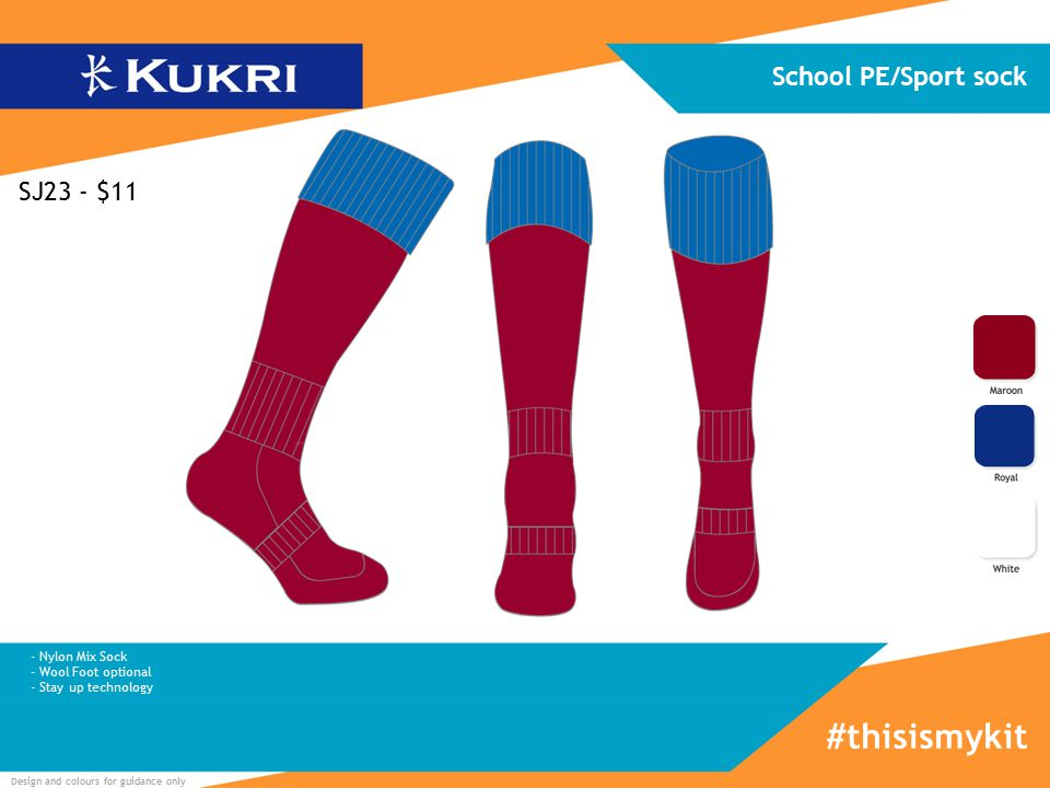 Design and colours for guidance only School PE/Sport sock #thisismykit SJ23 - $11 - Nylon Mix Sock - Wool Foot optional - Stay up technology