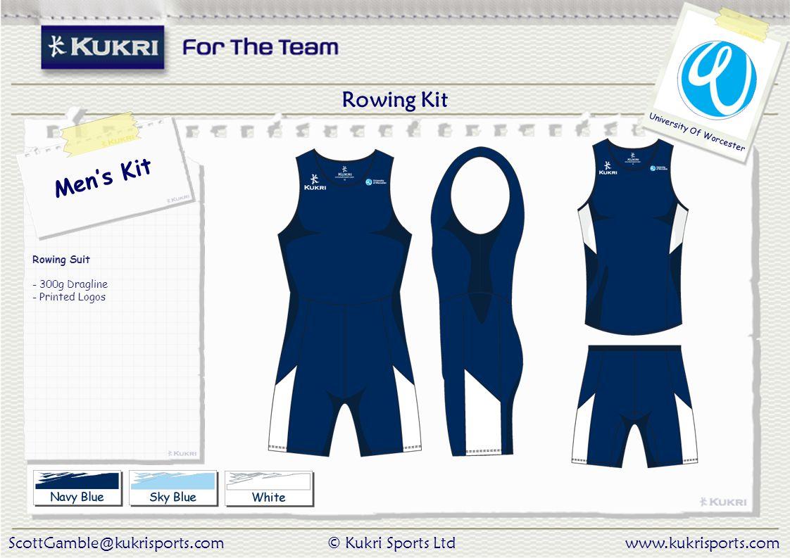 ScottGamble@kukrisports.com© Kukri Sports Ltdwww.kukrisports.com University Of Worcester Men's Kit Rowing Suit - 300g Dragline - Printed Logos Rowing Kit