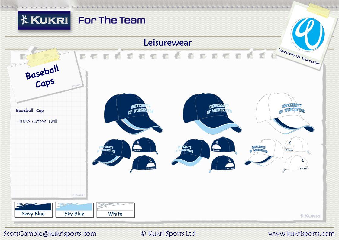 ScottGamble@kukrisports.com© Kukri Sports Ltdwww.kukrisports.com University Of Worcester Baseball Caps Baseball Cap - 100% Cotton Twill Leisurewear