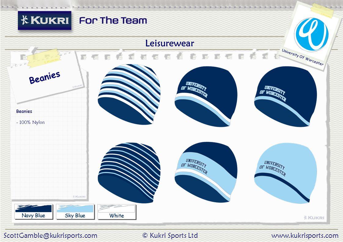 ScottGamble@kukrisports.com© Kukri Sports Ltdwww.kukrisports.com University Of Worcester Beanies - 100% Nylon Leisurewear