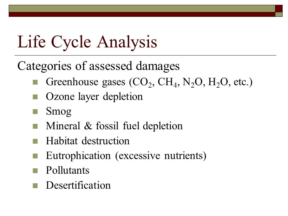 Life Cycle Analysis Categories of assessed damages Greenhouse gases (CO 2, CH 4, N 2 O, H 2 O, etc.) Ozone layer depletion Smog Mineral & fossil fuel depletion Habitat destruction Eutrophication (excessive nutrients) Pollutants Desertification