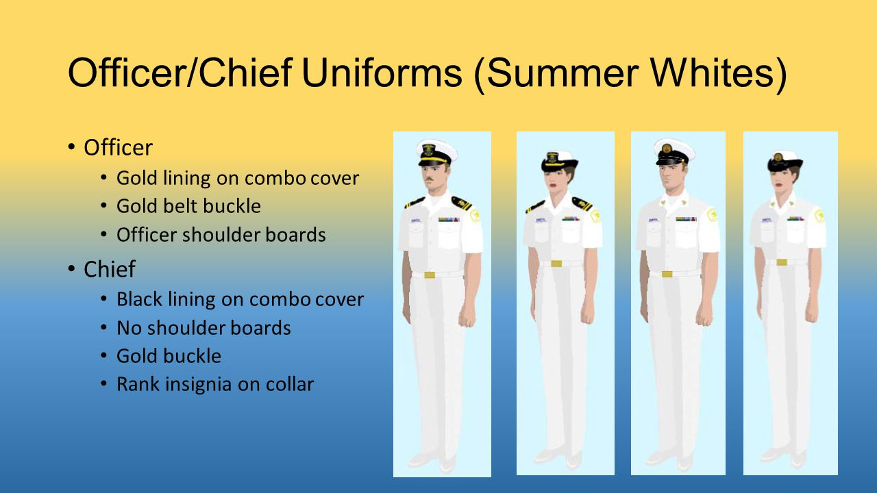 Officer/Chief Uniforms (Winter Blue) Officer Gold combo cover lining NSCC Officer insignia on cover Gold tie clasp/belt Chief Black combo cover lining Gold tie clasp/belt Rank insignia