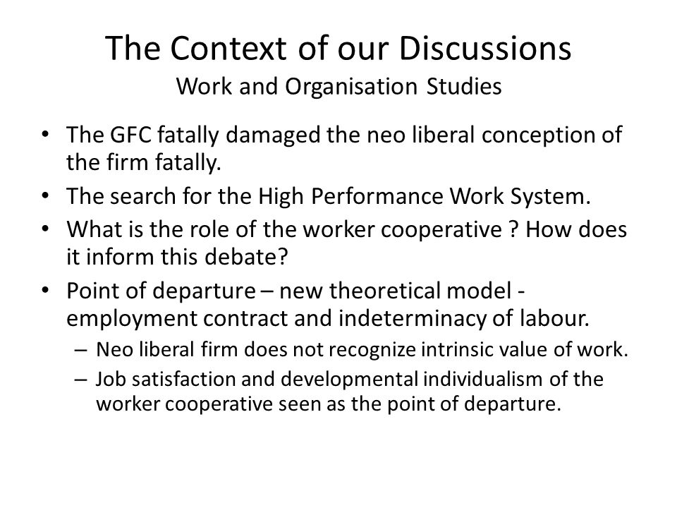 Today's Question : Can the worker cooperative live up to the expectations .