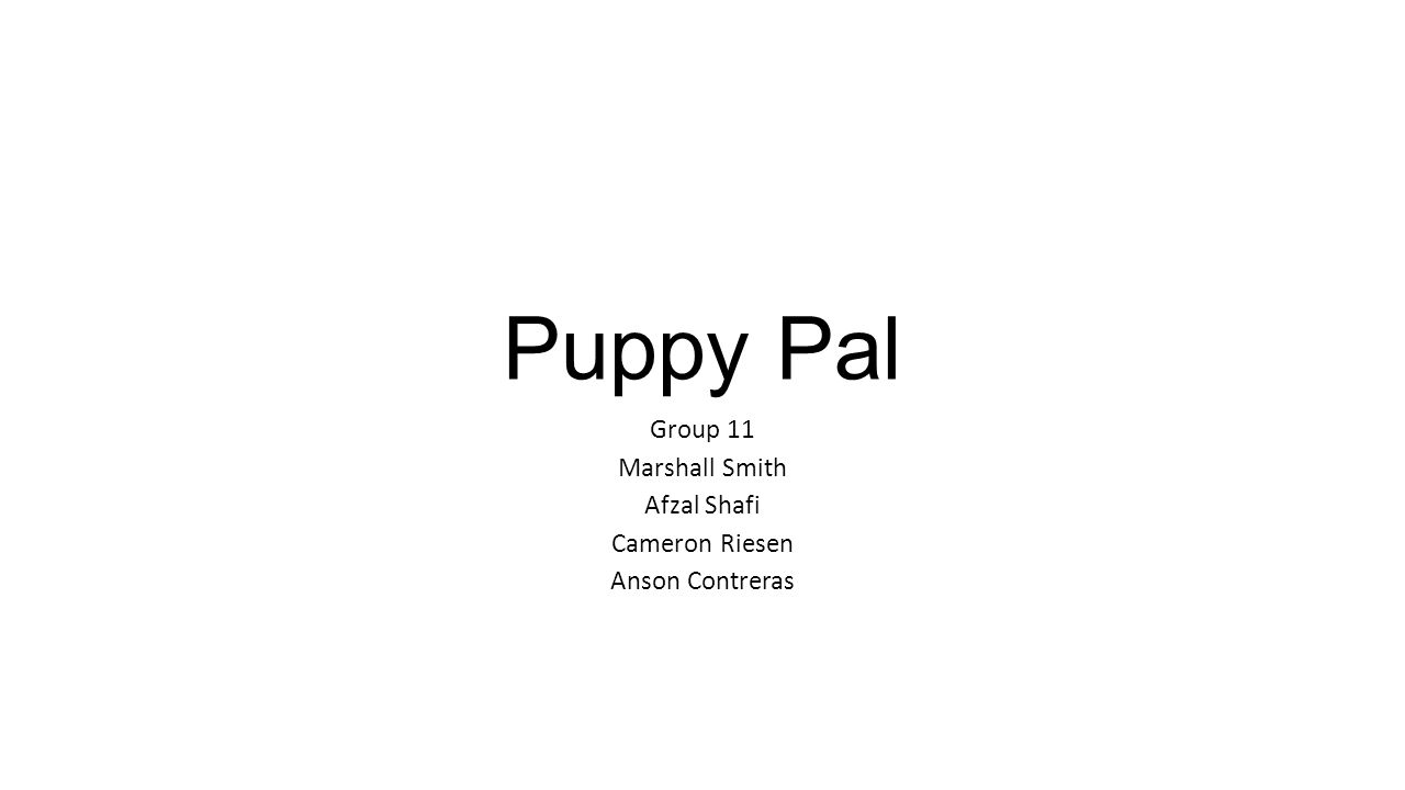Puppy Pal Group 11 Marshall Smith Afzal Shafi Cameron Riesen Anson Contreras