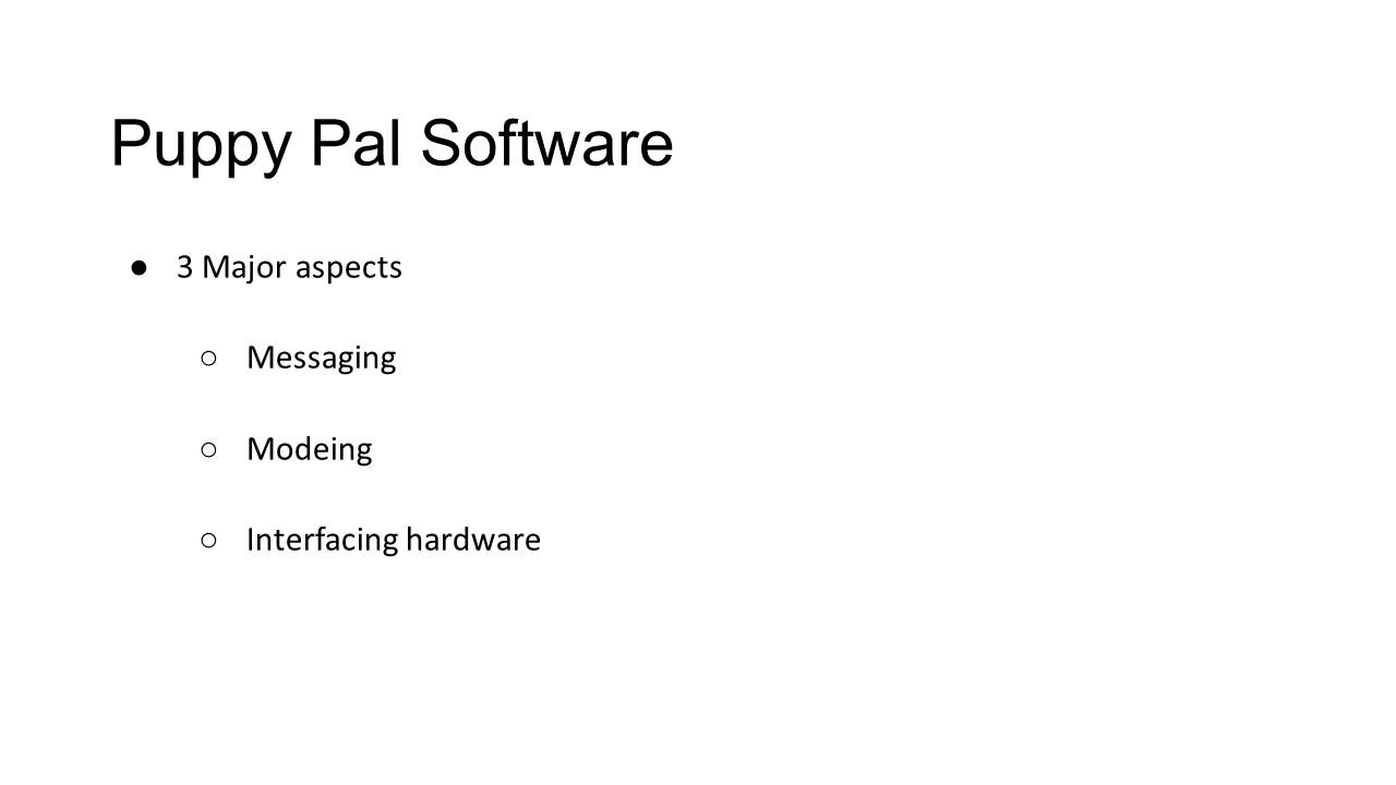 Puppy Pal Software ● 3 Major aspects ○ Messaging ○ Modeing ○ Interfacing hardware