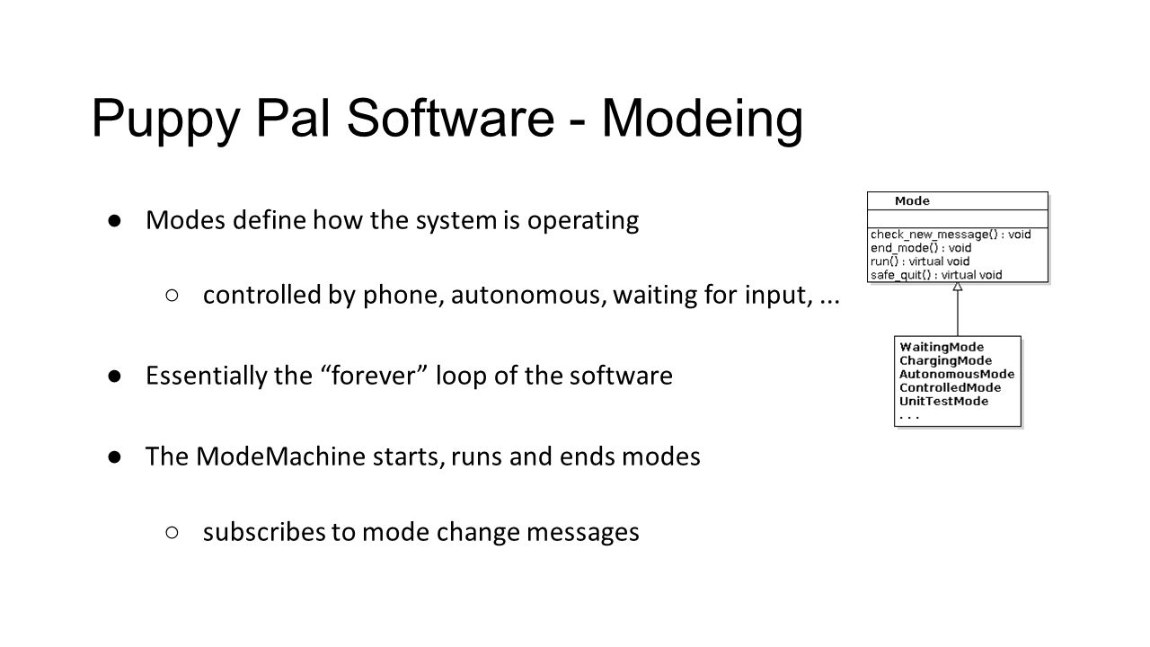 Puppy Pal Software - Modeing ● Modes define how the system is operating ○ controlled by phone, autonomous, waiting for input,...
