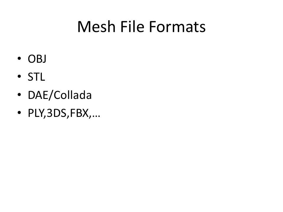 Mesh File Formats OBJ STL DAE/Collada PLY,3DS,FBX,…