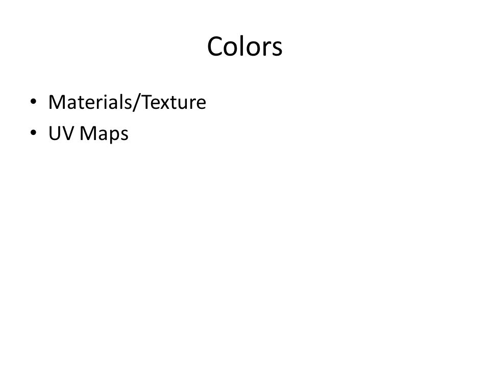 Colors Materials/Texture UV Maps