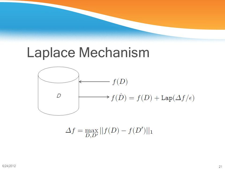 21 6/24/2012 Laplace Mechanism D