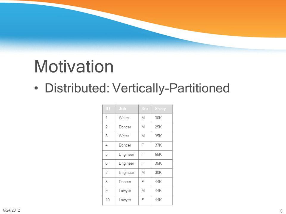 6 6/24/2012 Motivation Distributed: Vertically-Partitioned IDJobSexSalary 1WriterM30K 2DancerM25K 3WriterM35K 4DancerF37K 5EngineerF65K 6EngineerF35K 7EngineerM30K 8DancerF44K 9LawyerM44K 10LawyerF44K