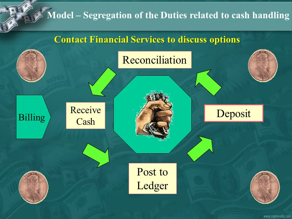 Reconciliation Deposit Post to Ledger Billing Model – Segregation of the Duties related to cash handling Receive Cash Contact Financial Services to discuss options