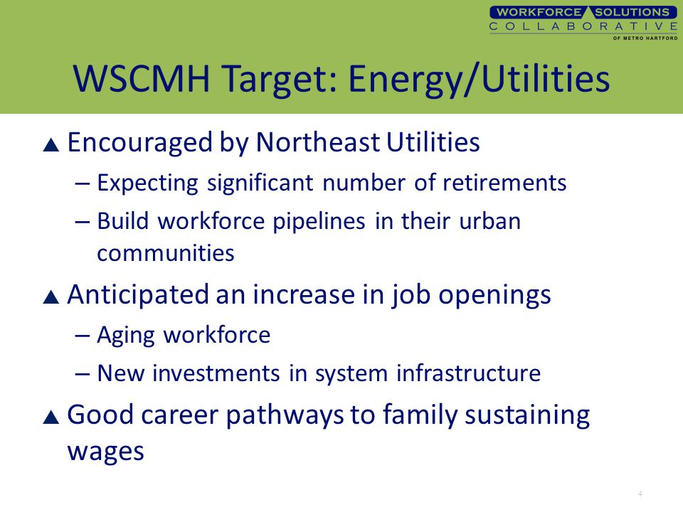 WSCMH Target: Energy/Utilities  Encouraged by Northeast Utilities – Expecting significant number of retirements – Build workforce pipelines in their