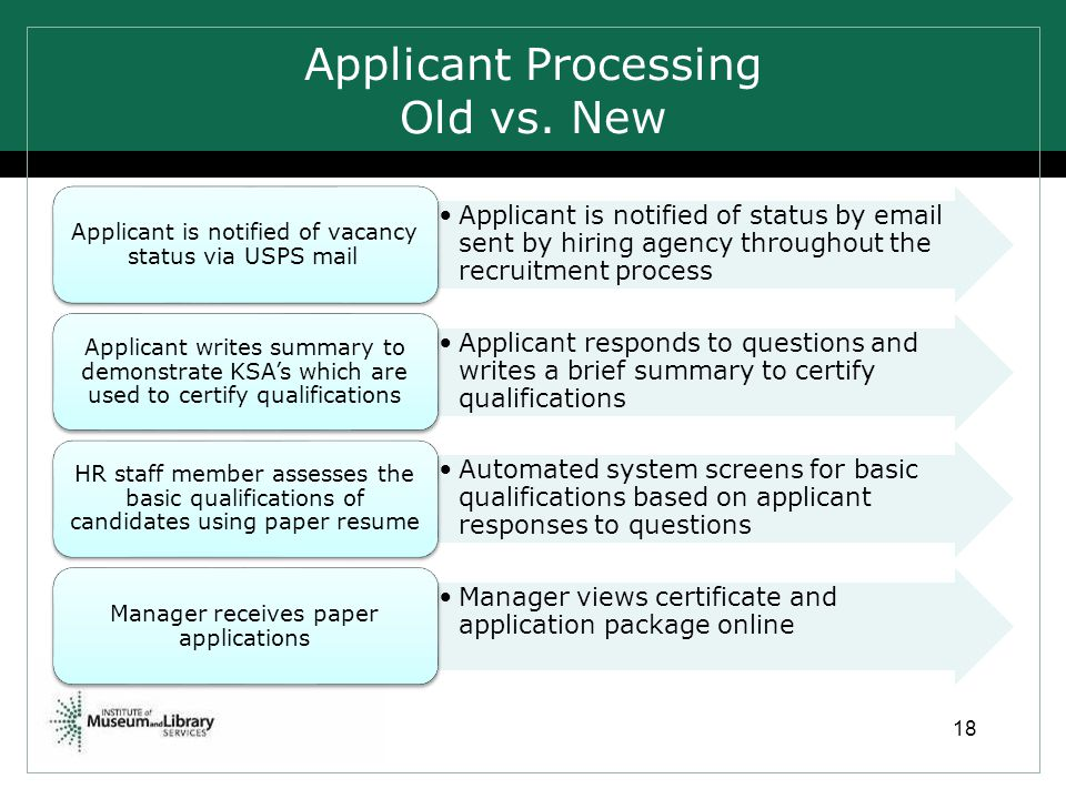 Applicant Processing Old vs. New Applicant is notified of status by email sent by hiring agency throughout the recruitment process Applicant is notifi
