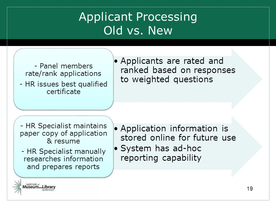 Applicant Processing Old vs. New 19 Applicants are rated and ranked based on responses to weighted questions - Panel members rate/rank applications -