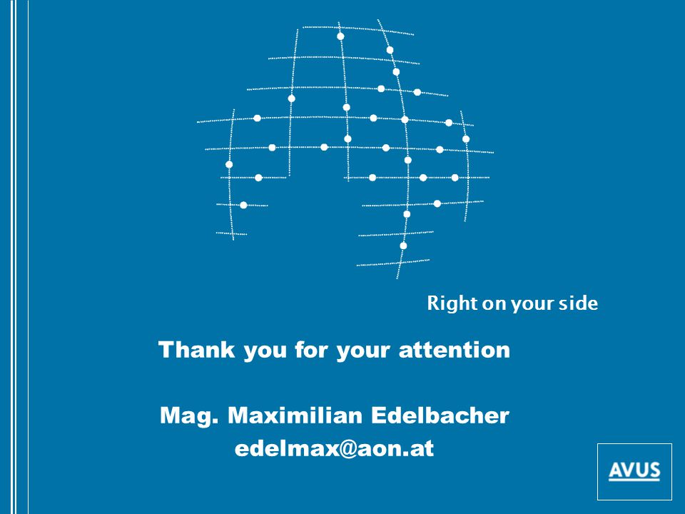 Thank you for your attention Mag. Maximilian Edelbacher edelmax@aon.at Right on your side