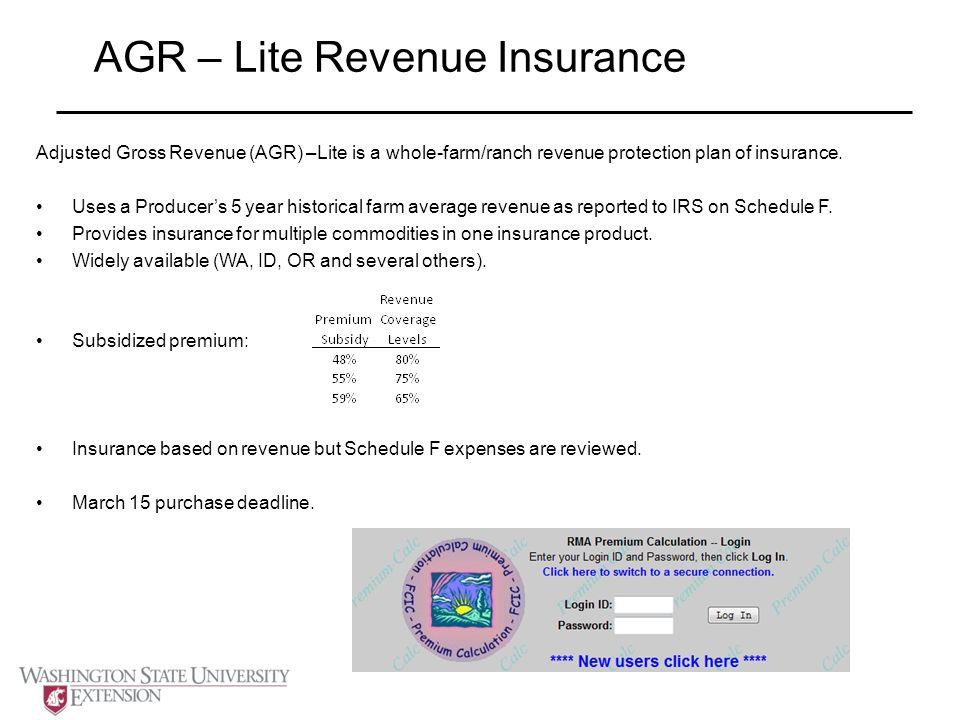 AGR – Lite Revenue Insurance Adjusted Gross Revenue (AGR) –Lite is a whole-farm/ranch revenue protection plan of insurance.