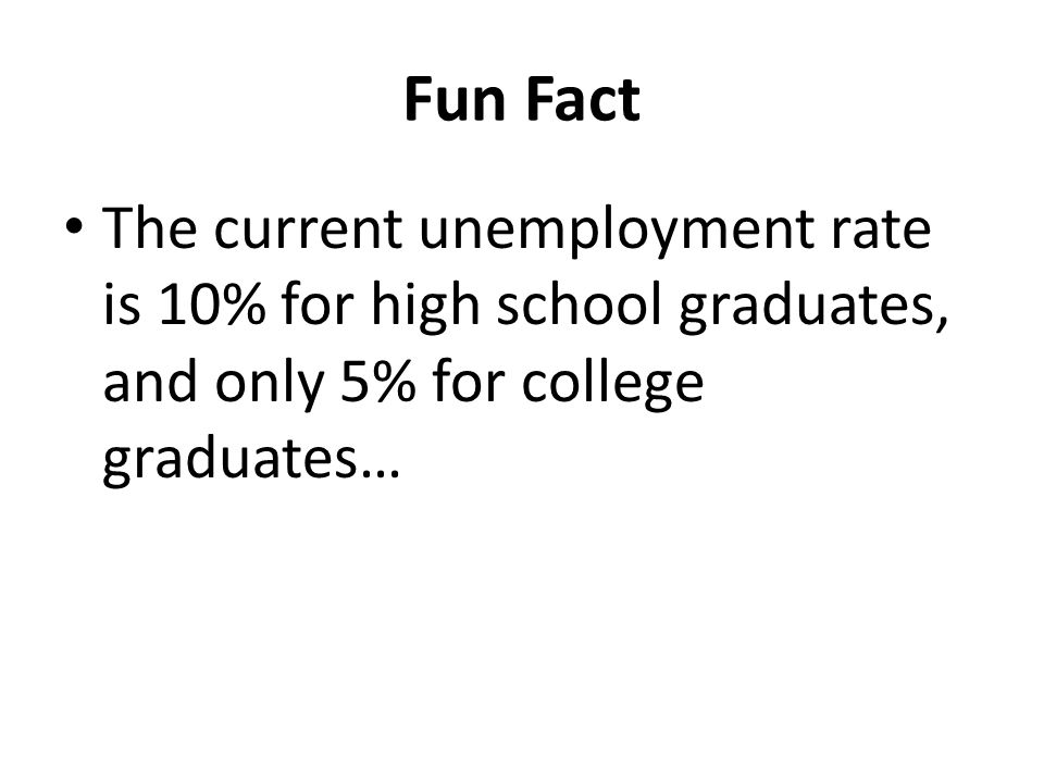 Fun Fact The current unemployment rate is 10% for high school graduates, and only 5% for college graduates…