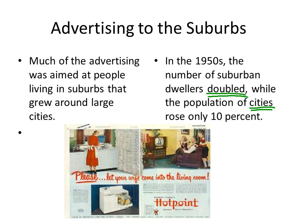 Advertising to the Suburbs Much of the advertising was aimed at people living in suburbs that grew around large cities. In the 1950s, the number of su
