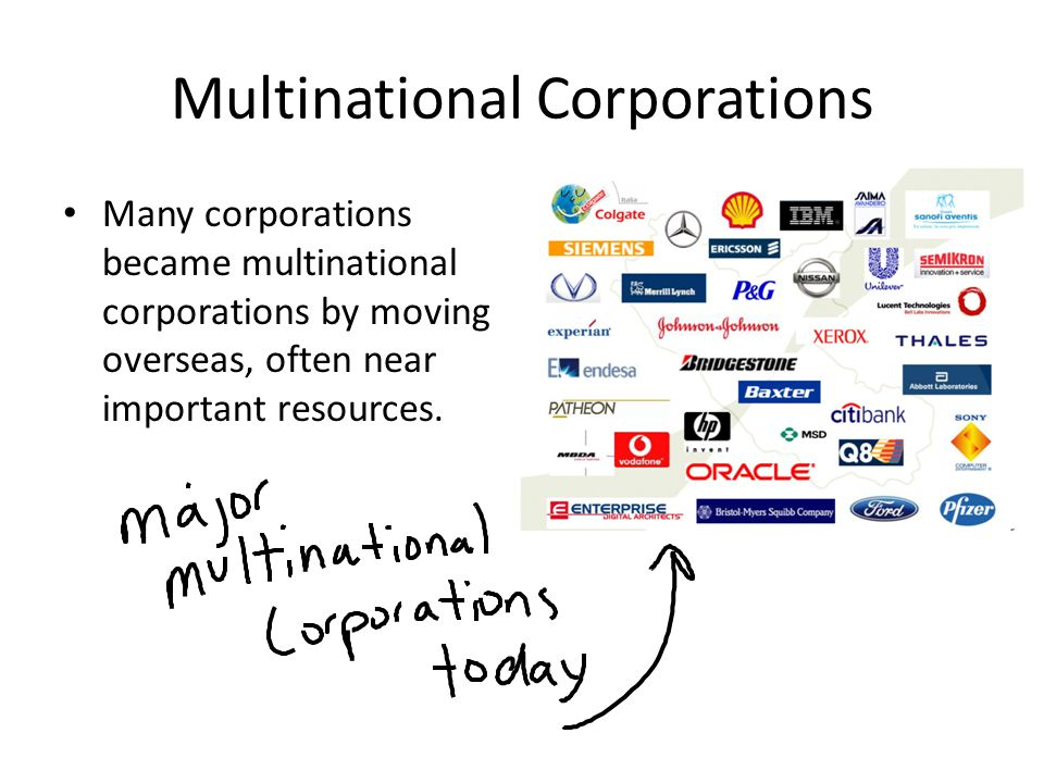 Multinational Corporations Many corporations became multinational corporations by moving overseas, often near important resources.