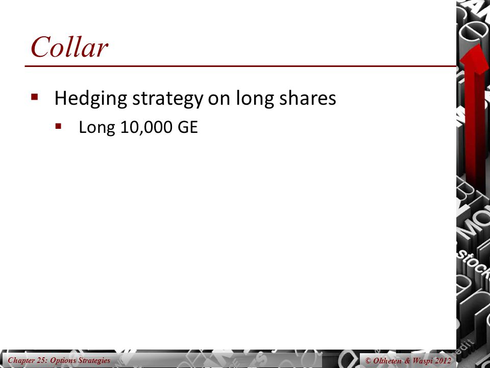 Chapter 25: Options Strategies © Oltheten & Waspi 2012 Collar  Hedging strategy on long shares  Long 10,000 GE