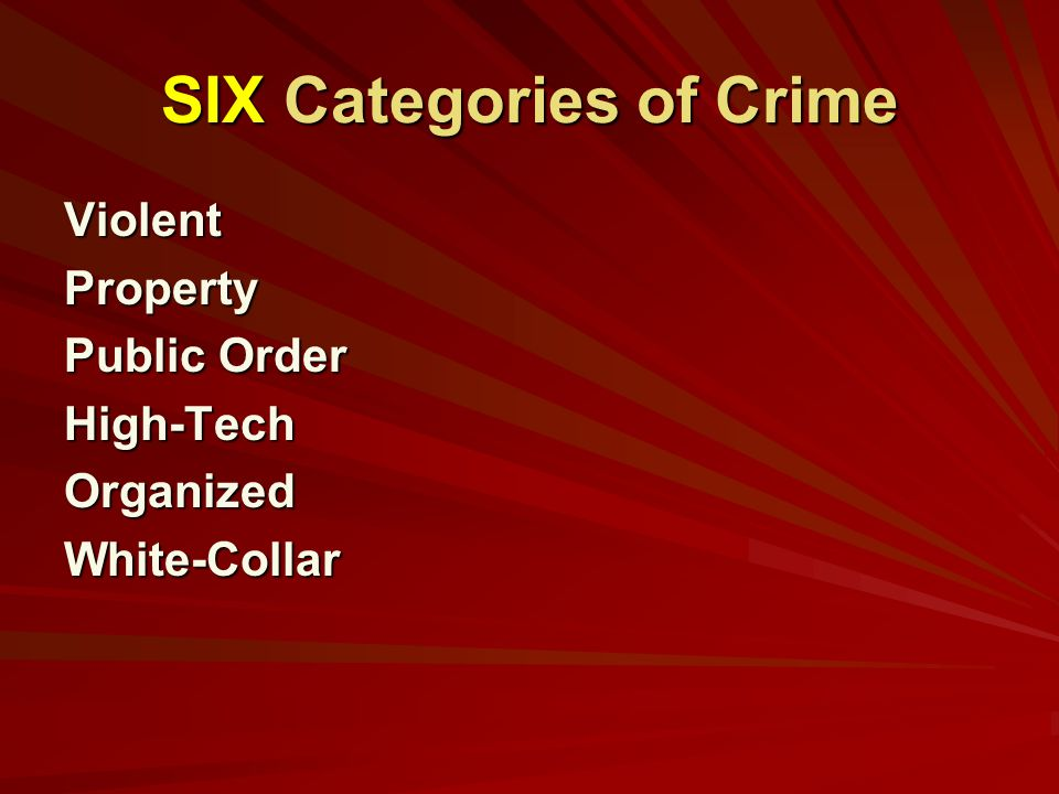 SIX Categories of Crime ViolentProperty Public Order High-TechOrganizedWhite-Collar