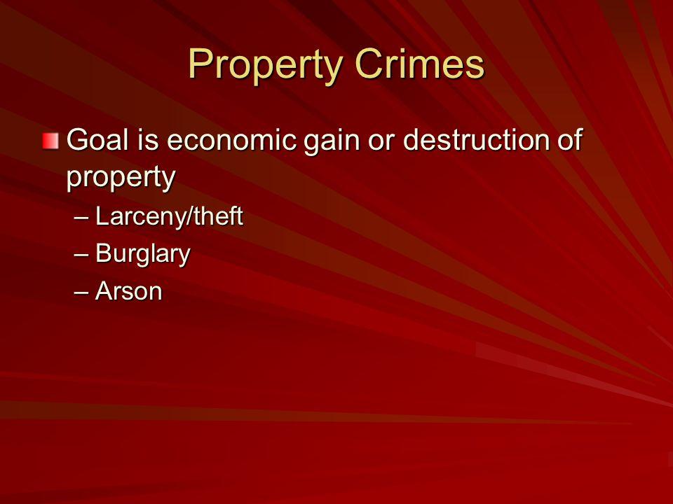 Property Crimes Goal is economic gain or destruction of property –Larceny/theft –Burglary –Arson