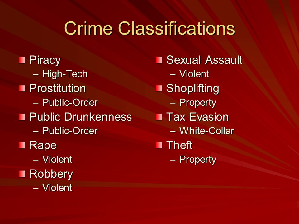 Crime Classifications Piracy –High-Tech Prostitution –Public-Order Public Drunkenness –Public-Order Rape –Violent Robbery Sexual Assault –ViolentShoplifting –Property Tax Evasion –White-CollarTheft –Property