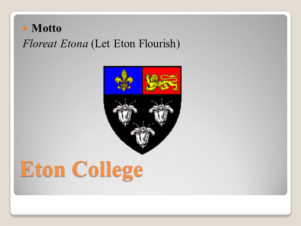 Eton College, often referred to simply as Eton, is a British independent school for boys aged 13 to 18.