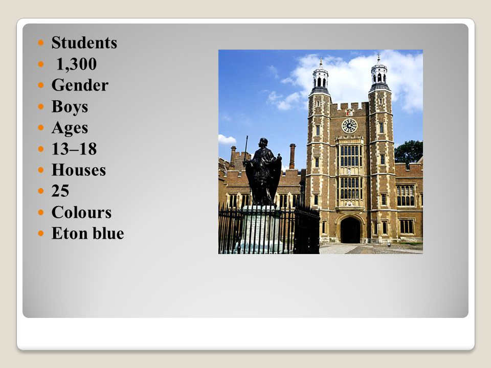 Students 1,300 Gender Boys Ages 13–18 Houses 25 Colours Eton blue