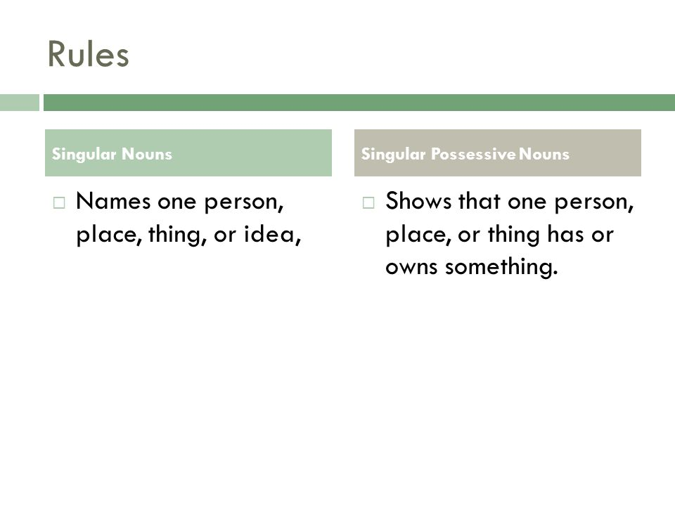 Rules  To make a singular noun show possession you just add an apostrophe and an s ('s).