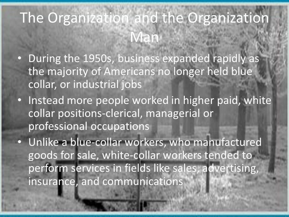 Conglomerates Many white-collar workers performed their services in large corporations or government agencies Some of these corporations continued by forming conglomerates or a major corporation that included a number of smaller companies in unrelated industries Such companies included ITT, AT&T, Xerox, and General Electric