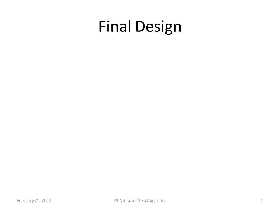 Final Design February 21, 2013UL Vibration Test Apparatus5
