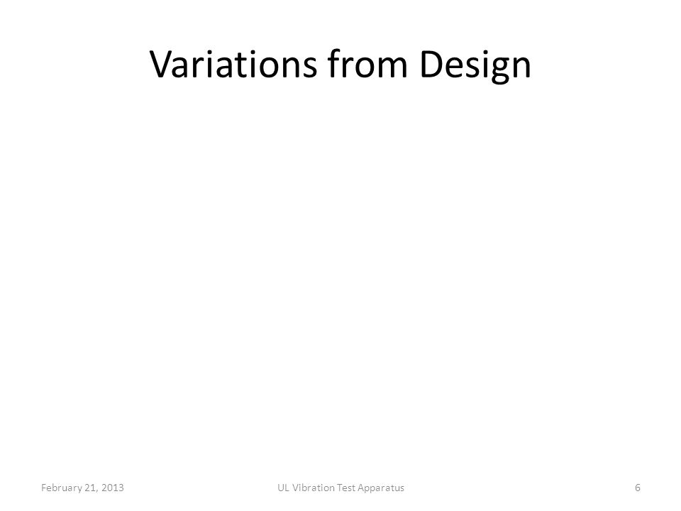 Variations from Design February 21, 2013UL Vibration Test Apparatus6